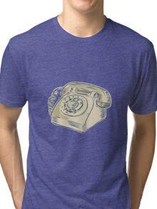 Telephone Vintage Etching Tri-blend T-Shirt