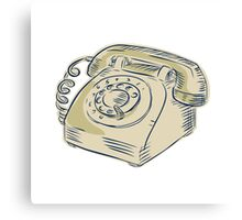 Telephone Vintage Etching Canvas Print