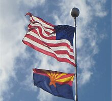 American and Arizona flags blowing in a beautiful breeze by DAdeSimone