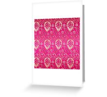 Chic girly pink gold floral paisley pattern Greeting Card