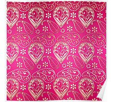 Chic girly pink gold floral paisley pattern Poster