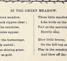 Miniature Under the Window Pictures & Rhymes for Children Kate Greenaway 1880 0043 In the Green Meadow Sticker