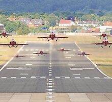 The Red Arrows Depart From Farnborough by Colin  Williams Photography