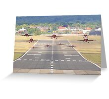 The Red Arrows Depart From Farnborough Greeting Card