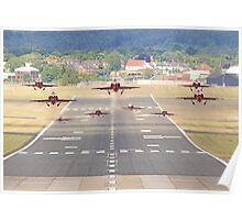 The Red Arrows Depart From Farnborough Poster