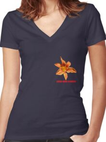 Grow more flowers Women's Fitted V-Neck T-Shirt