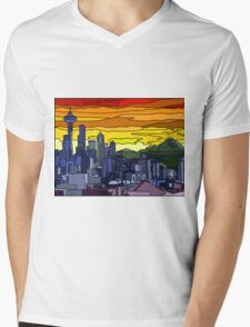 Seattle Pride Cityscape Mens V-Neck T-Shirt