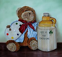 """Teddy Bear Artist"" - oil painting by Avril Brand"