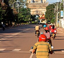 Ride at Sunrise - Vientiane, Laos. by Tiffany Lenoir
