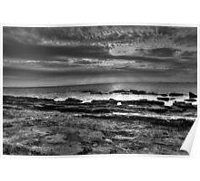 Sunset on Rocky Point in Black & White Poster