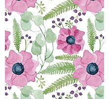 Pink watercolor anemones pattern Photographic Print