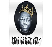 Biggie Smalls Notorious King Of New York White T-Shirt Poster