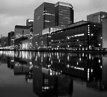 reflecting on a tokyo skyline by Florian Verhein
