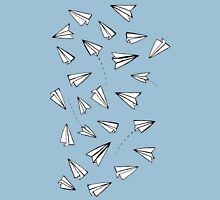 Paper Planes in Blue Womens Fitted T-Shirt