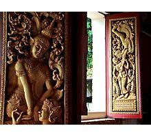 Buddhist Wood Carvings - Vientiane, Laos. Photographic Print