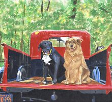 Antique Fire Truck with Dogs by Yvonne Carter