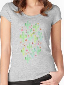 Watercolor Cacti Women's Fitted Scoop T-Shirt