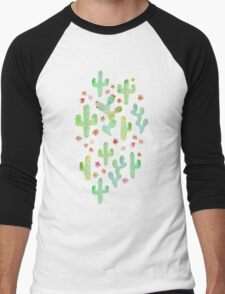 Watercolor Cacti Men's Baseball ¾ T-Shirt