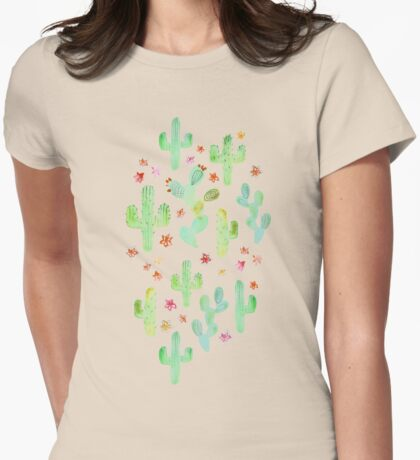 Watercolor Cacti Womens Fitted T-Shirt