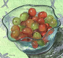 Jumbo Grapes in a Wavy Glass Bowl by bernzweig