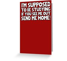 I'm supposed to be studying if you see me out send me home! Greeting Card