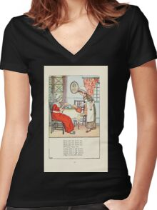 Mother Goose or the Old Nursery Rhymes by Kate Greenaway 1881 0029 Polly Put the Kettle on Women's Fitted V-Neck T-Shirt