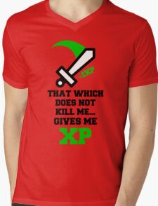 """""""That Which Does Not Kill Me...Gives Me XP"""" RPG Game Quote Mens V-Neck T-Shirt"""