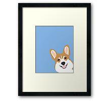 Corgi Peek  cute dog welsh corgi gift unique pet customizable gifts for dog lovers Framed Print