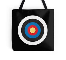 Bulls Eye, Right on Target, MOD Roundel, on BLACK Tote Bag