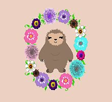 Cute Whimsy Sloth In Pretty Floral Wreath by Artification