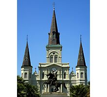 Jackson Square : Jackson Statue And St Louis Cathedral Photographic Print