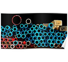 Red & Blue Pipes Poster