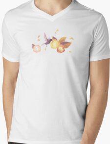 White Birds n' roses Mens V-Neck T-Shirt
