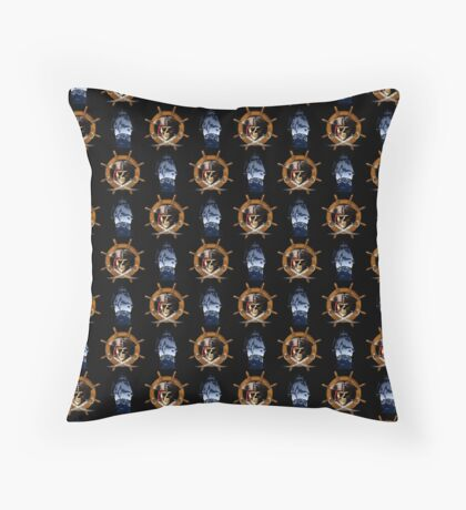Pirate Skull And Ship Wheel Throw Pillow
