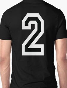 2, TEAM SPORTS, NUMBER 2, TWO, SECOND, Competition, White on Black T-Shirt