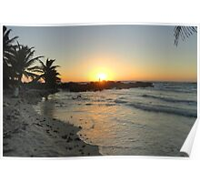 Engaged Couple in the Morning Sunrise Poster