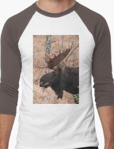 Bull moose - Algonquin Park, Ontario Men's Baseball ¾ T-Shirt