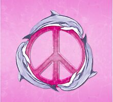 Dolphin Peace Pink by BailoutIsland