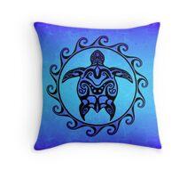 Maori Ocean Blue Turtle Throw Pillow