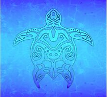 Tribal Turtle Ocean Blue by BailoutIsland