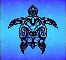 Black Blue Tribal Turtle by BailoutIsland