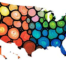 United States of America Map 1 - Colorful USA by Sharon Cummings
