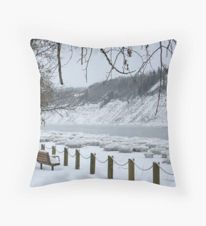 Winter - North Saskatchewan River Throw Pillow