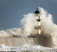Waves Crashing Into A Lighthouse by printscapes