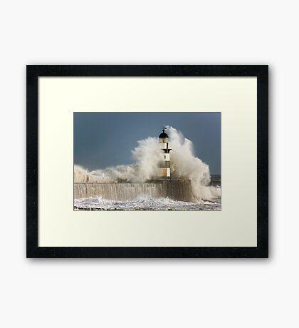 Waves Crashing Into A Lighthouse Framed Print