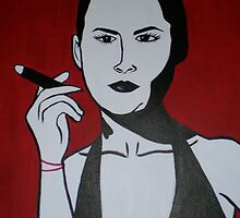 Woman Smoking a Cigar by Wanda K. Whitaker