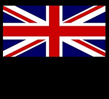 Union Jack, British Flag, UK, United Kingdom, Blighty, Pure & simple 1:2 on BLACK by TOM HILL - Designer