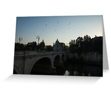 Morning in Rome - Cavour Bridge and Seagulls in Flight  Greeting Card