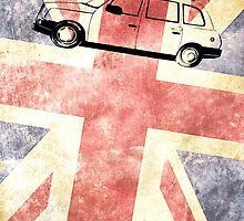 London taxi with grunge UK flag by pifate