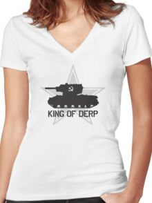 King of Derp Women's Fitted V-Neck T-Shirt
